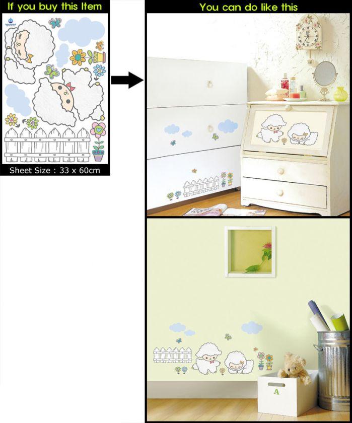 Lamb&Flower(KRS 0107) Deco Mural Art Sticker Wall Paper