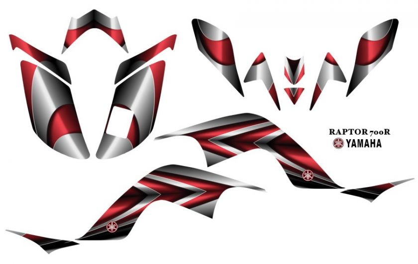 Yamaha Raptor 700 ATV Quad Graphics Decal kit 2222Red