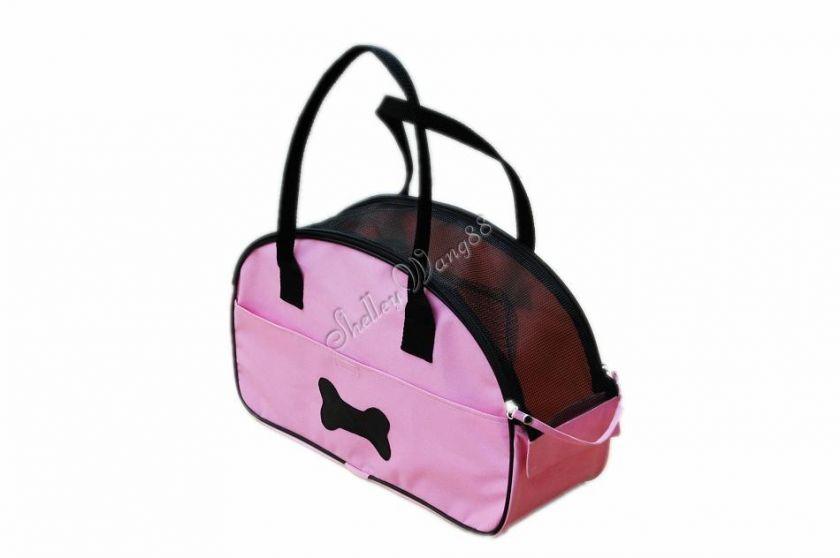 Pet Carrier Dog Cat Tote Bag Bone Mesh Handbag Shoulder Pink Travel S