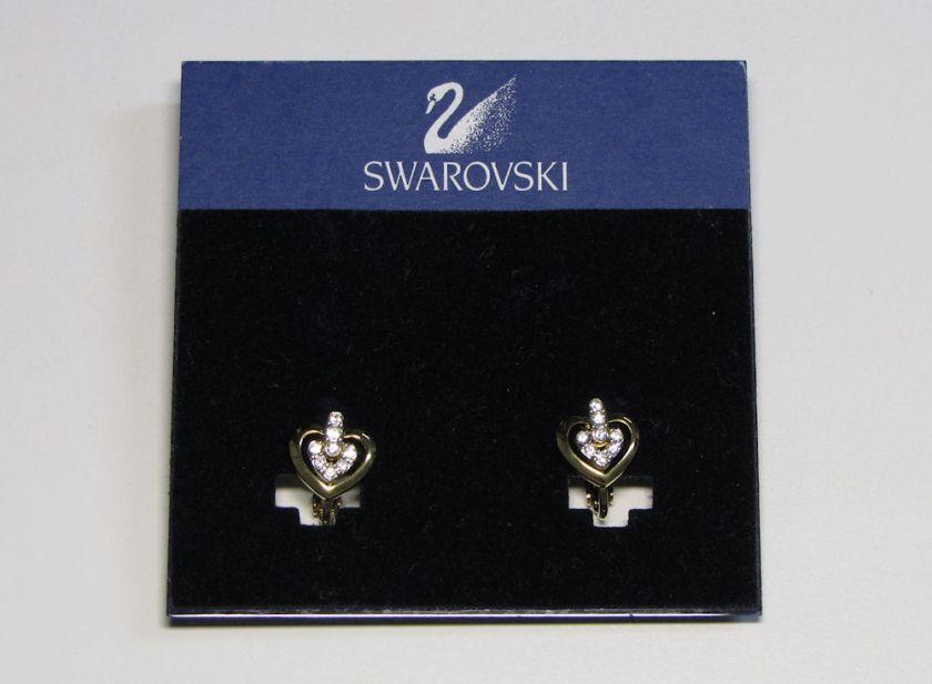 NEW SWAROVSKI EARRINGS TRENDY SHINY GOLD HEARTS W/CRYSTALS/RHINESTONES