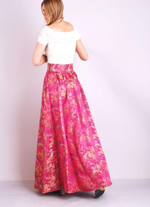 Vtg METALLIC BROCADE Cummerbund HIGH WAIST Sweep Supermodel Maxi Dress