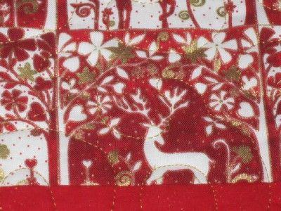 Quilted Table Runner Christmas reindeer red white gold elegant stars