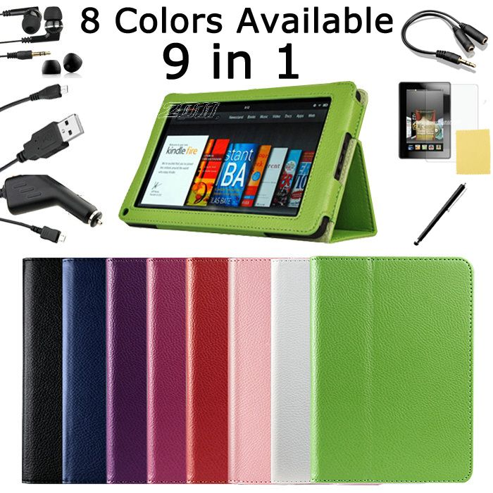 For Kindle Fire Leather Case with Stand/Car Charger/USB/Stylus