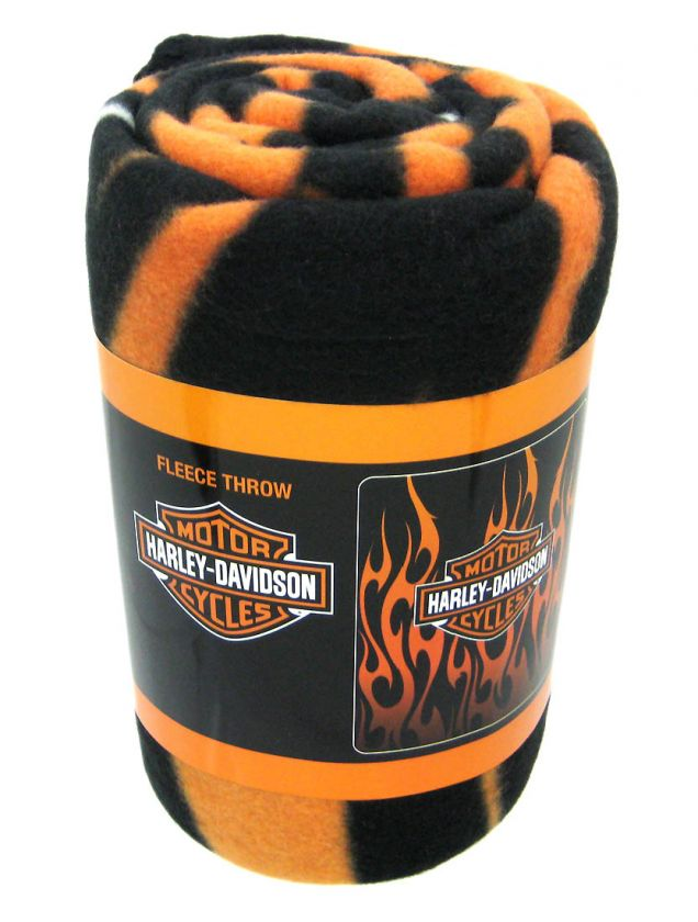 Harley Davidson Bar Shield Tribal Flames Blanket