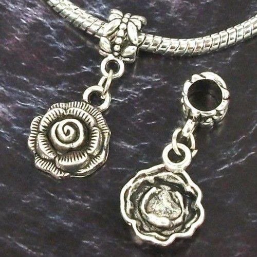 lots 30pcs Tibetan silver Flower DANGLE Charms beads