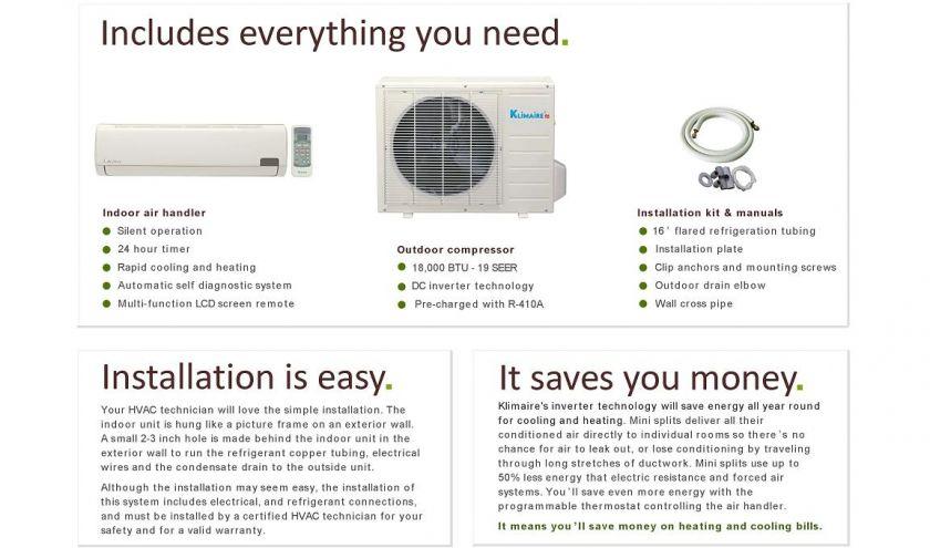 Ductless Mini Split Air Conditioner Heat Pump 18000 BTU 1.5 Ton 18,000