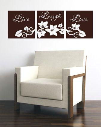 LIVE LAUGH LOVE FLOWER VINYL WALL DECAL STICKER ART