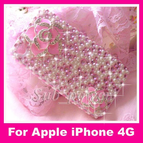 3D Flower Bling Crystal Case cover for iPhone 4 4G B18