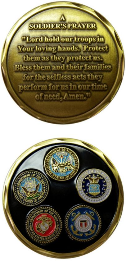 MILITARY USMC ARMY A SOLDIERS PRAYER CHALLENGE COIN NEW