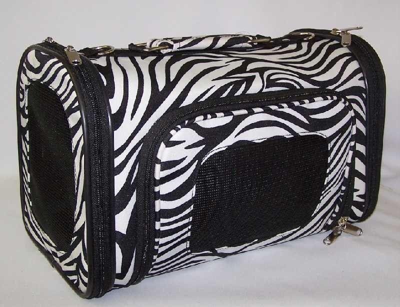 Luggage Style black & white zebra pet dog carrier NEW