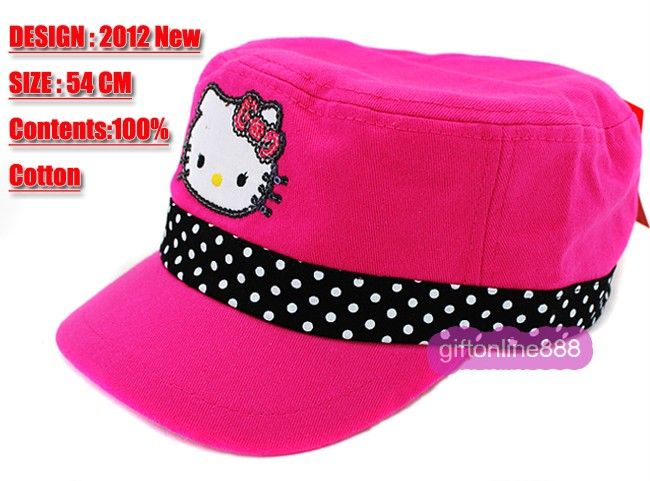 1695 Rose color Hello Kitty Embroidered cotton Cap Hat