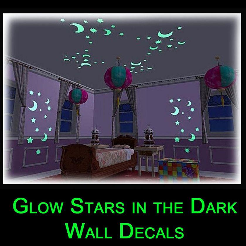 Glow in the Dark Baby Room Kid Wall Sticker Nursery Decal Stars Moon